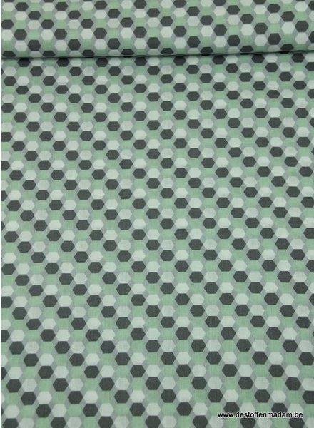 hexagon mint - katoen