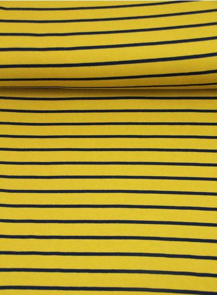ocre and blue stripes - french terry