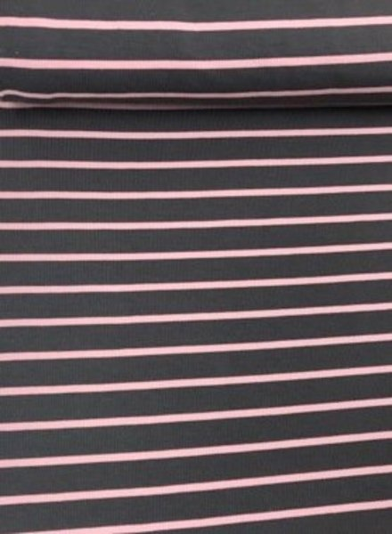 grey and pink stripes - french terry