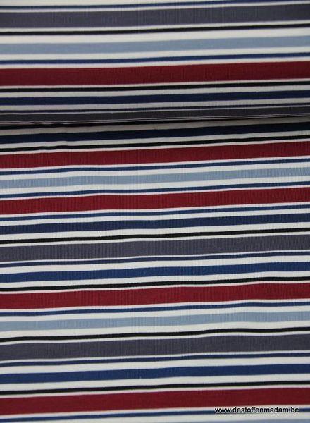 navymarine-bordeaux streepjes - jersey