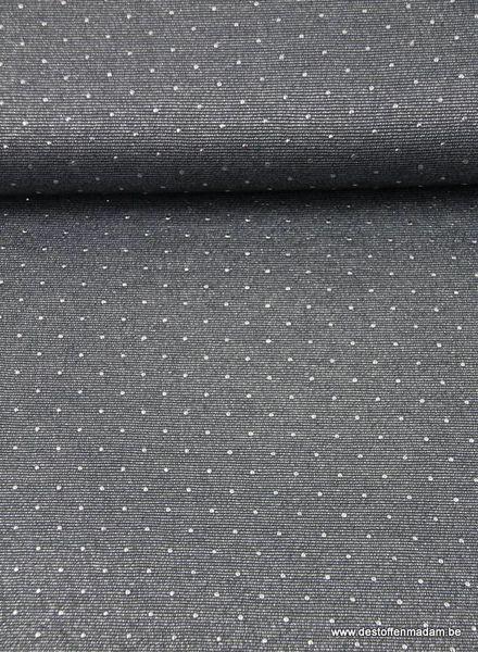 glitter viscose tricot met pins - donkergrijs