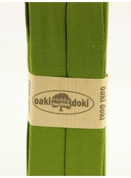 olijfgroen -  biais tricot 3 meter