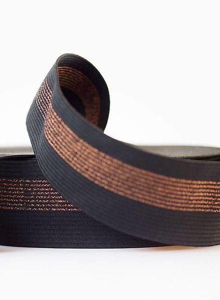 elastische tailleband zwart met koperen lijnen - SYAS
