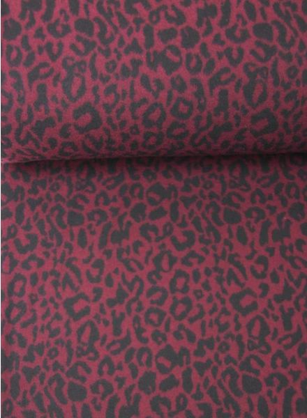 burgundy leopard - knitted fabric