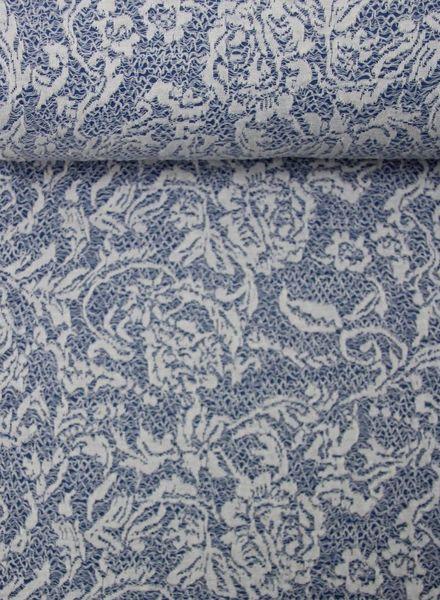 blauwe structuur tricot met kant