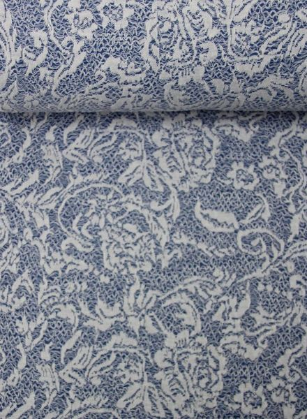 blue textured knit fabric with lace