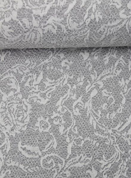 grey textured knit with lace