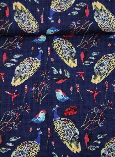 schattige pauwen marineblauw - viscose met linnen look