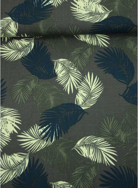 zomerse bladeren khaki - viscose met linnen look