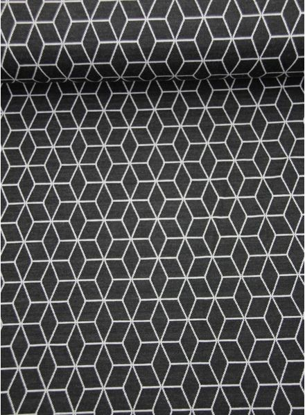 geometrische print donkergrijs - gebreide stof