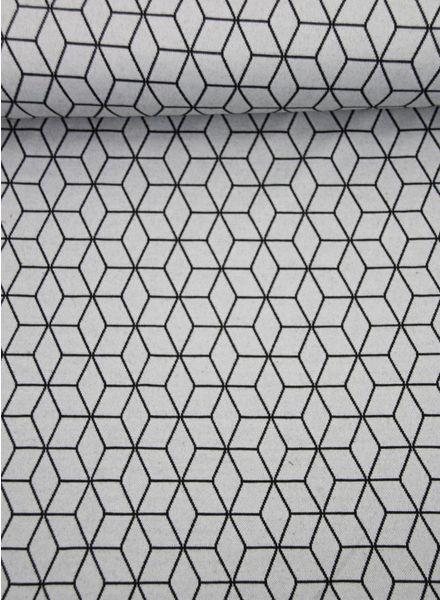 geometric print grey - knitted fabric