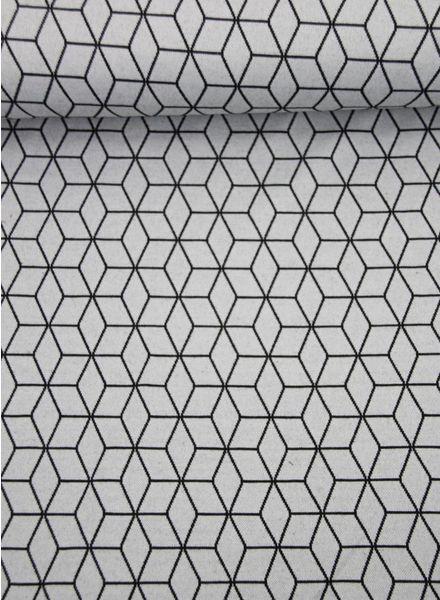 geometrische print grijs - gebreide stof