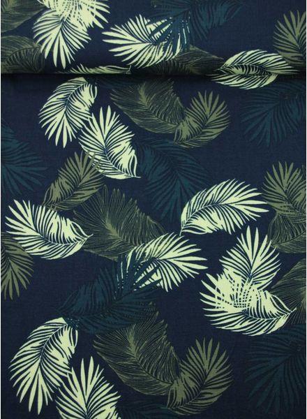 zomerse bladeren blauw - viscose met linnen look