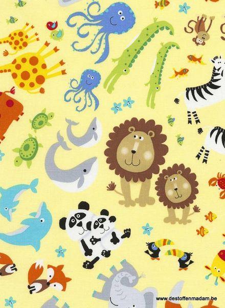 Timeless Treasures Fabrics geel dieren katoen