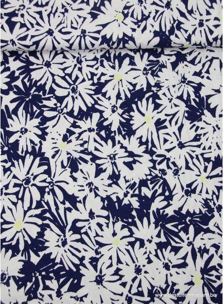 blauwe en witte bloemetjes -  dunne tricot