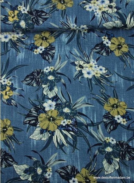 blauwe bloemen - viscose