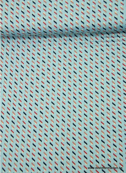 blauwe geometrisch - soepelvallende stof