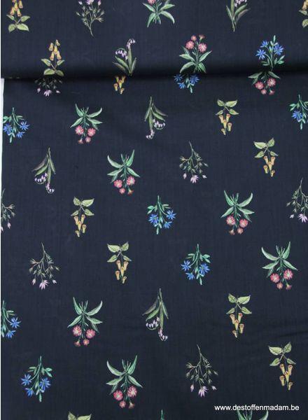 LMV BRUNA BLOUSE black flower bouqet - katoen