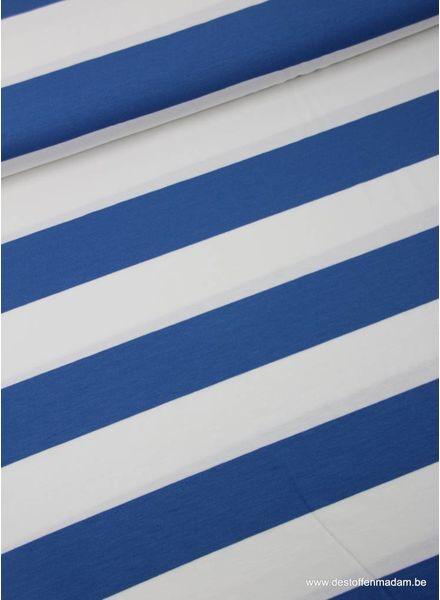 kobalt brede strepen 5 cm - viscose tricot