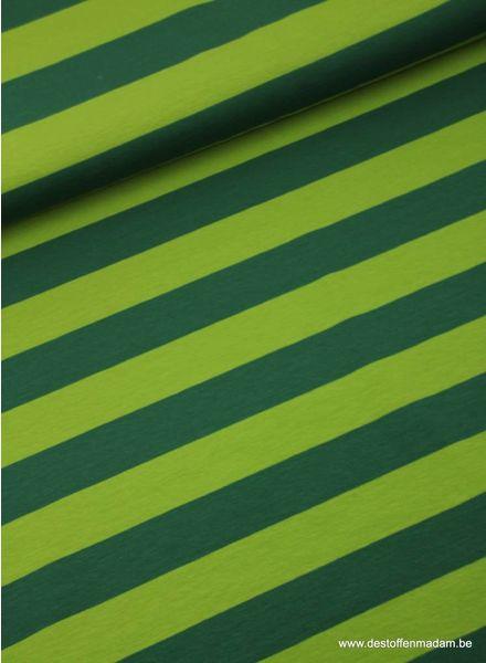 groene brede strepen 3cm - tricot