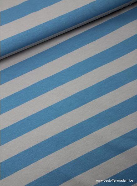 lichtblauw brede strepen 3cm - tricot