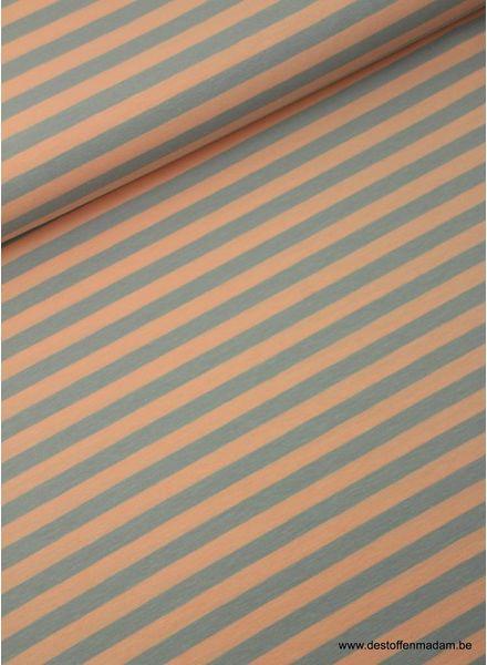 zalm/grijs strepen 1cm - tricot