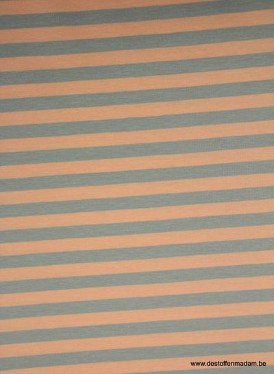 salmon/grey stripes 1 cm - jersey