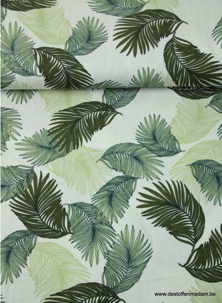 white leaves viscose with linen look.