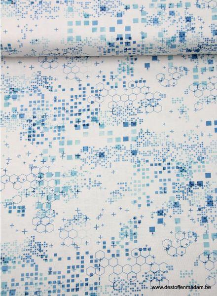 blauwe figuurtjes - katoen
