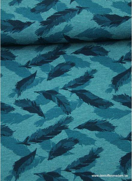 petrolblauwe veertjes - tricot