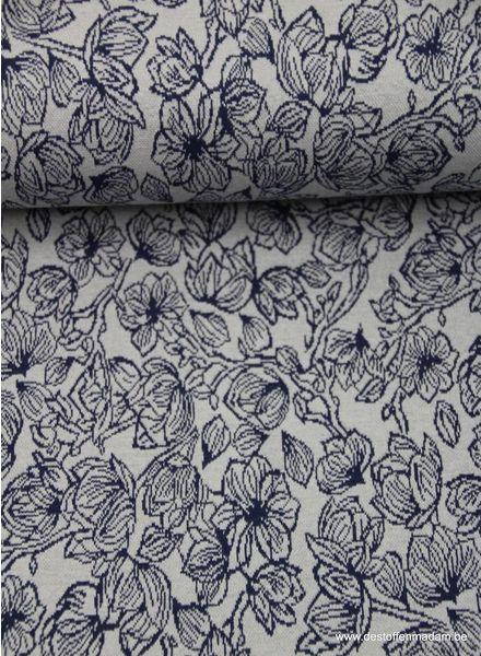 blauwe bloemetjes - gebreide stof