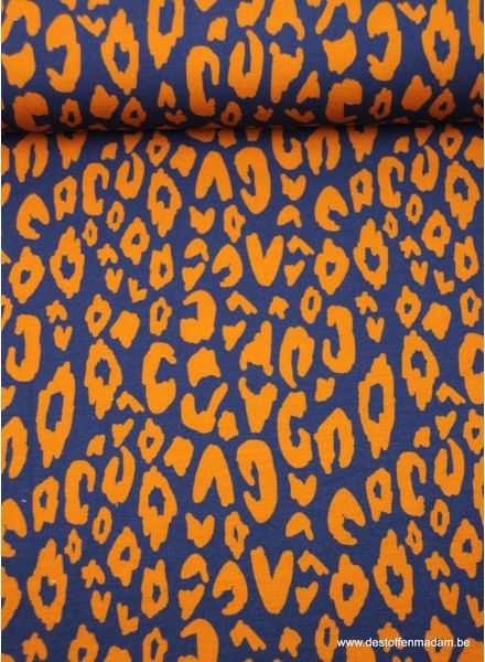 orange leopard -  french terry