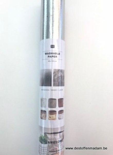 Wasbaar papier (kraft-tex) - zilver