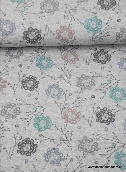 organic flowers grey  - sweat fabric