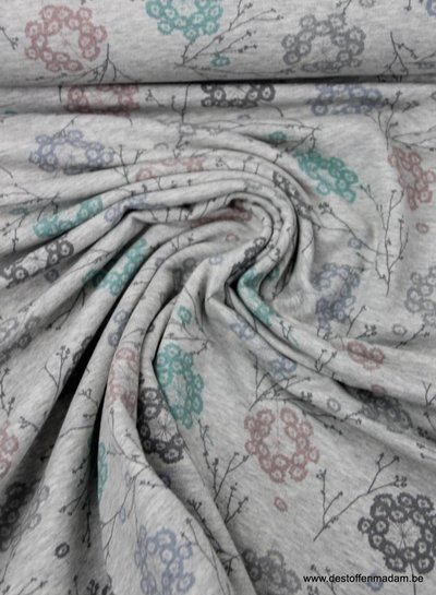 organische bloemetjes grijs  - dunne sweaterstof