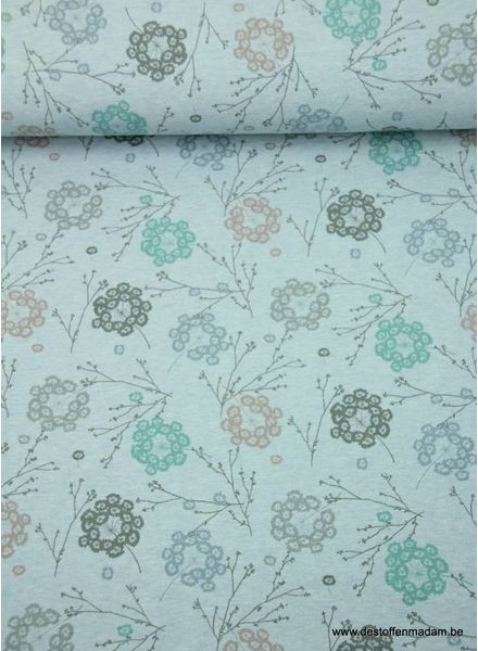 organic flowers blue - sweat fabric