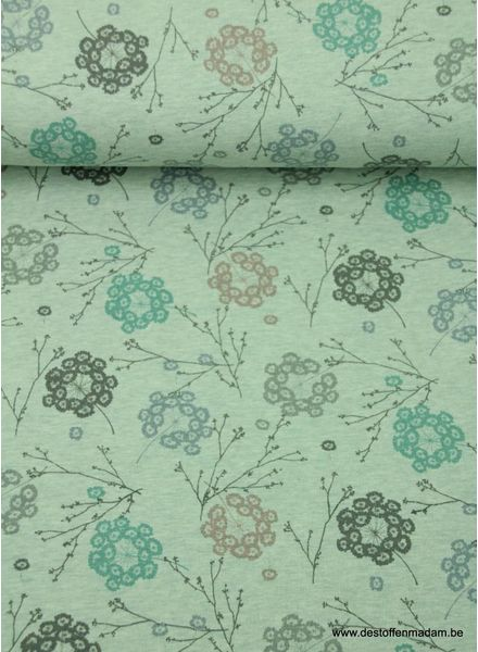 organic flowers mint - sweat fabric