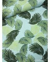 zomerse bladeren lichtblauw - viscose met linnen look