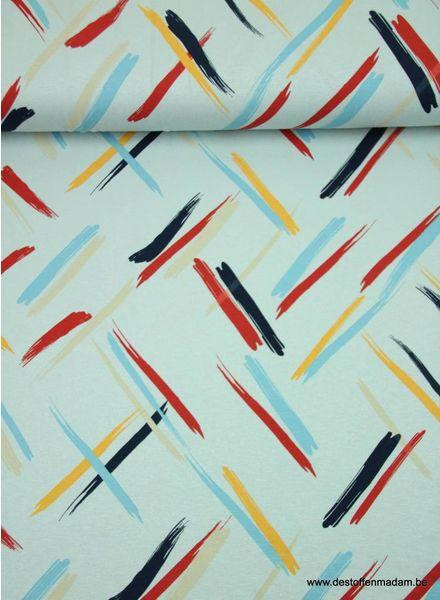 artistieke strepen blauw -  viscose tricot