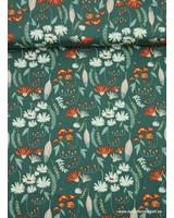 veertjes en bloemetjes groen - tricot