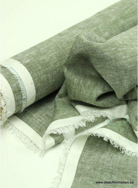 gewassen linnen mix  - khaki