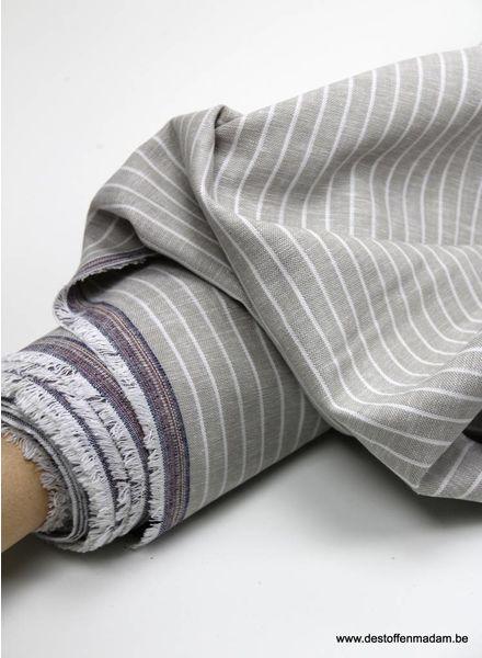 gewassen linnen mix - beige streepjes