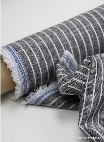 gewassen linnen mix - grijs streepjes