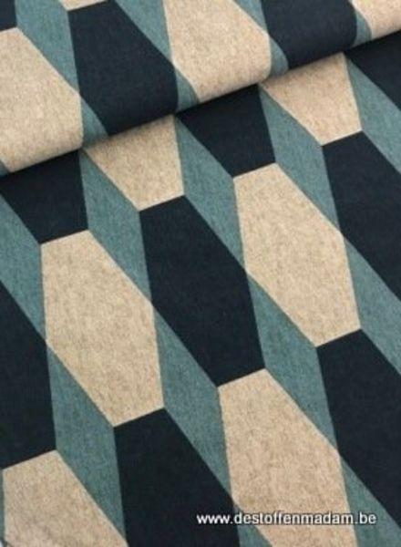 groen geometrisch - deco stof