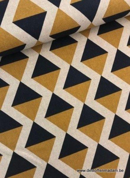 ochre geometric - deco fabric