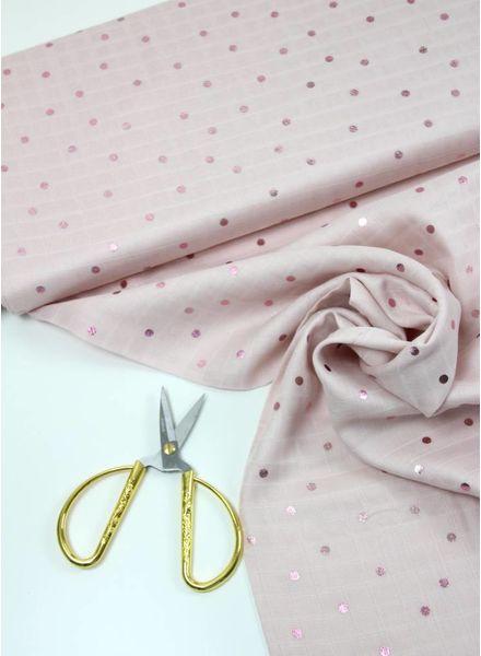 metallic bolletjes roze - mousseline