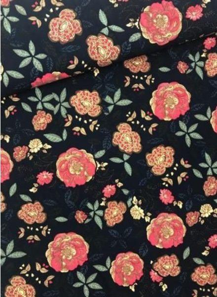 rozen navy - soepelvallende stof met soft-touch