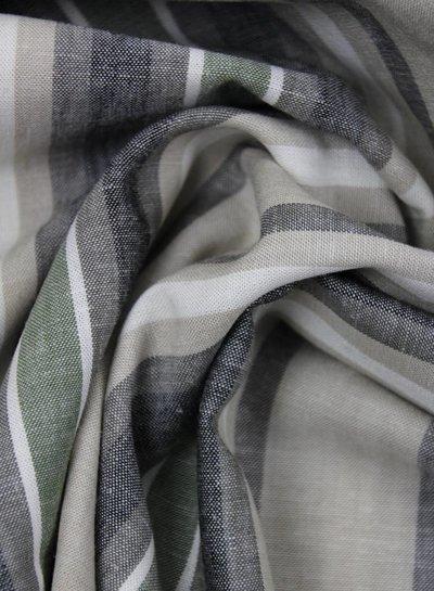 khaki gestreept - Italiaanse linnen mix