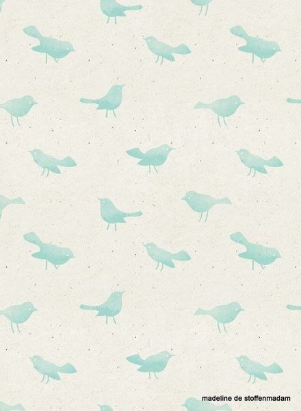 birds paper pigeons french terry