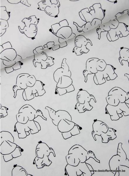olifantjes zwart/wit -  tricot